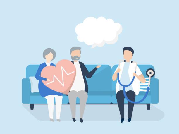 Personas mayores que se someten a un chequeo en un hospital